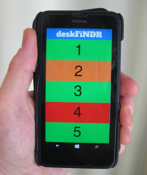 Smart phone displaying the DeskFindr app: numbers 1 to 5 and traffic light shading for desk availability