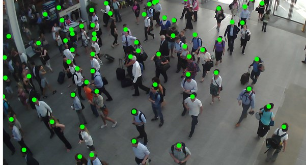 view from camera sensor showing detection of passengers with green dot on each