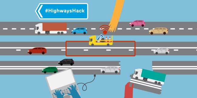 highways hack logo with cartoon lanes of traffic