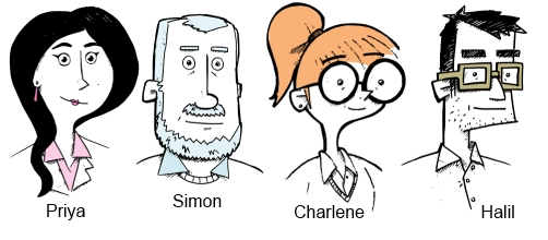 drawings of four people with a name by each one