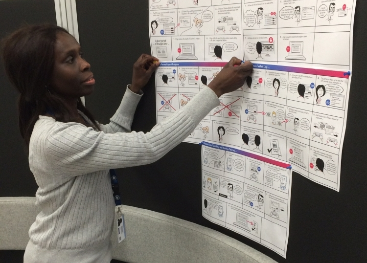 woman putting user journey posters on a pinboard