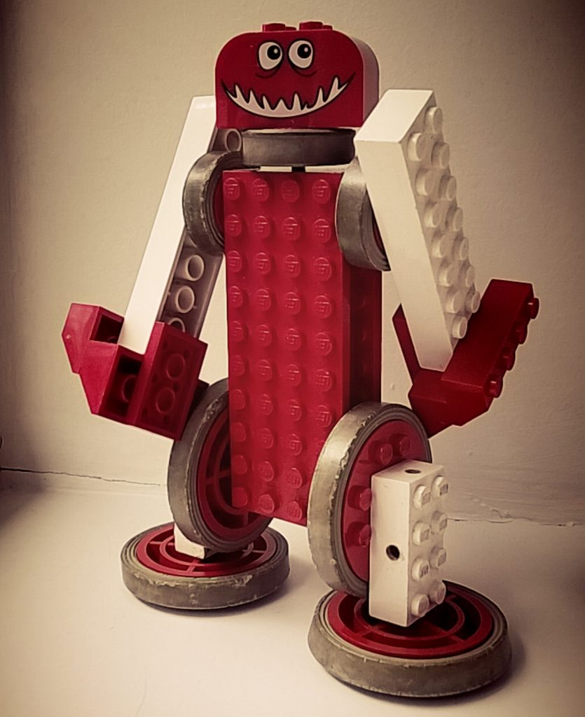 toy robot made from plastic bricks