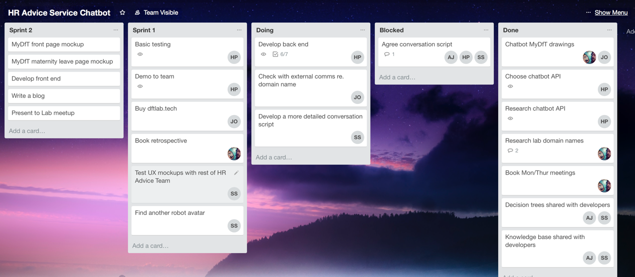 online kanban board showing team tasks