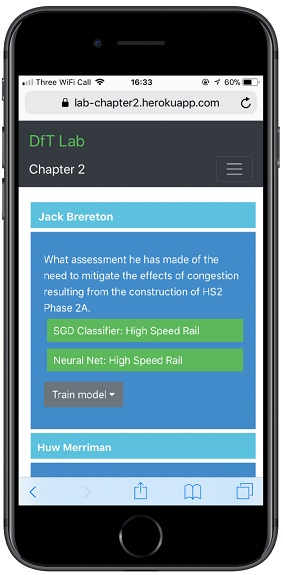 view of the DfT corresponsdence app on a smartphone