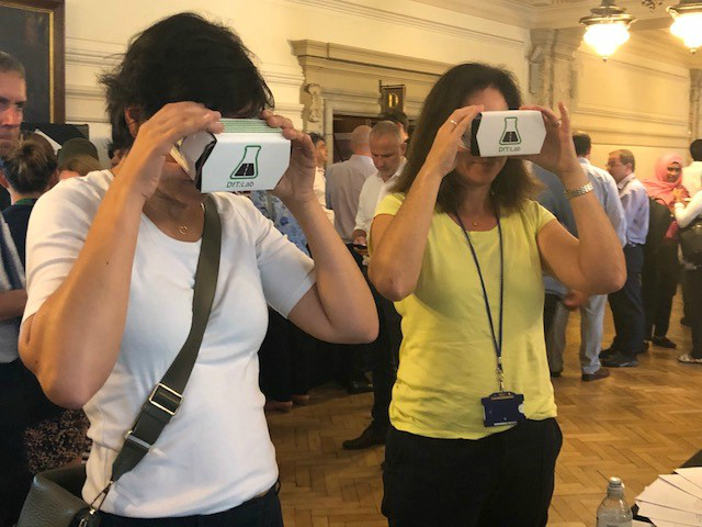 two women using virtual reality headsets
