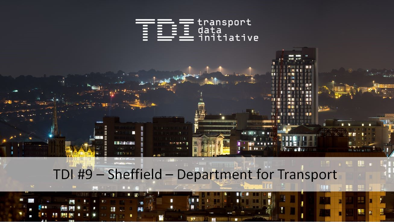 photo of Sheffield city centre at night with TDI branding and TDI number 9 - Sheffield - Department for Transport event title