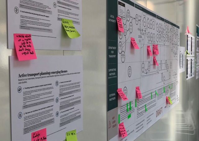 "An internal wall adorned with printouts, a flowchart and Post-It notes. The printout in the foreground says ""Active transport planning: emerging themes""."